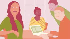 Illustration av två kvinnor och två män runt ett bord med en dator på. Alla tittar in i en tänkt kamera.