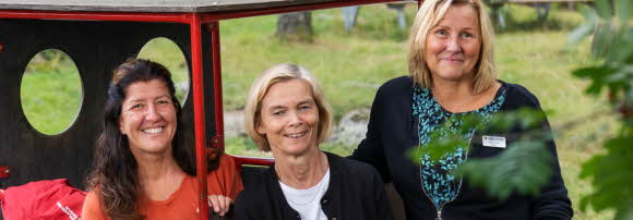 Tre glada kvinnor står på en förskolas utegård. De tittar alla tre in i kameran. I bakgrunden syns en grön gräsmatta