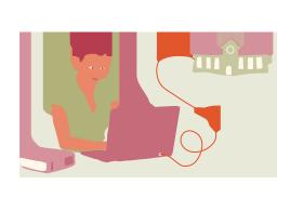 En kvinna sitter vid en dator. Från datorn går en lång sladd till en skolbyggnad i bakgrunden
