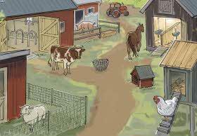 Illustration av en bondgård med djur som en ko, ett får, en häst och en tupp.