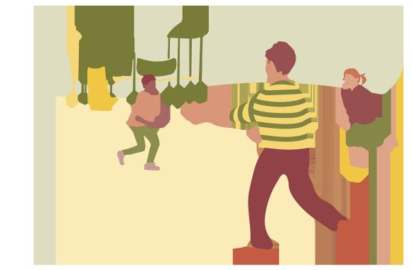 Illustration av barn som leker på en lekplats