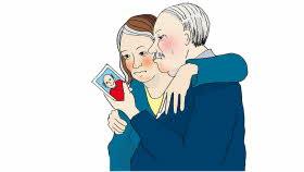 Två illustrerade personer tittar på en foto.