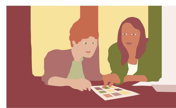 Illustration av två unga vuxna som tittar på ett blad med rutor på.