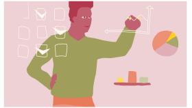 Illustration av en man som ritar ett diagram på en tavla. Runt om i luften syns andra diagram och rutor med och utan bockar i.
