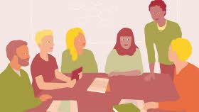 Sex personer sitter runt ett bord. De tittar på varandra. På bordet ligger papper och en bok.