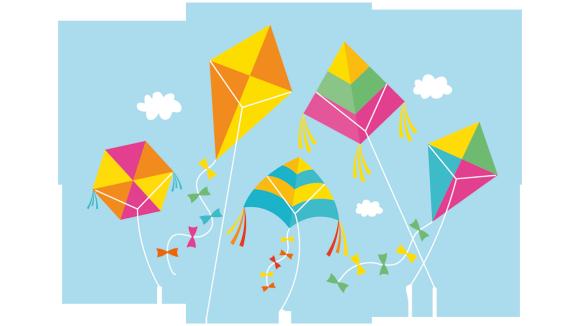 Illustration av fem flygande drakar