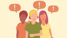 Tre elever står bredvid varandra och tittar rakt emot dig. Alla har en pratbubbla med ett utropstecken i. En elev lägger sin hand på en annans axel.
