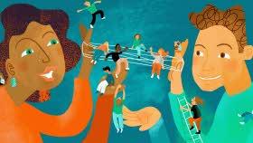 Illustration med två vuxna som på olika sätt håller upp pyttesmå elever, en elev balanserar på en av de vuxnas fingertopp, några andra sitter i ett nät mellan de vuxnas händer.