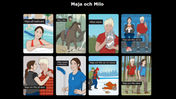 Maja och Milo - interaktiva webböcker.