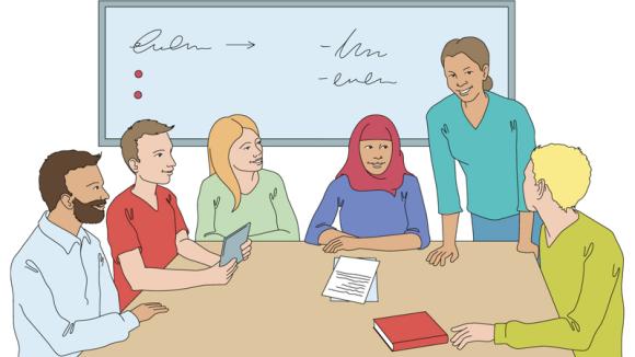 Illustration av vuxna som studerar tillsammans