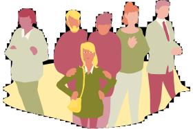 Ett barn står längst fram, bakom henne står en man och en kvinna som lägger varsin hand på barnet. Bredvid dem står ytterligare tre vuxna personer