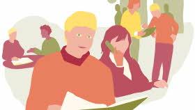 Illustration. Sex vuxna personer som gör olika saker. Längst fram en person som tittar rakt mot den som tittar på bilden. Strax bakom en person som pratar i telefon. Lägre bak två personer som sitter och pratar och ytterligare två personer där den ena visar upp ett dokument för den andre.