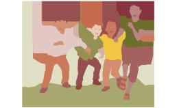 Illustration av fyra barn som springer rakt mot dig