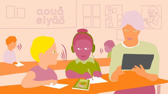 Illustrerade elever i ett klassrum tillsammans med sin lärare.