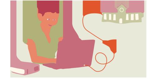 Ilustration av en person som sitter vid en dator, från datorn går en sladd till en skolbyggnad i bakgrunden