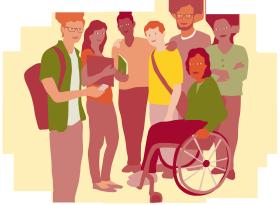 Illustration av sju personer i grupp